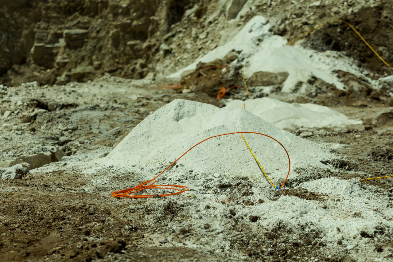 Close-up Day No People Outdoors Mining Industry Mining Blasting Quarry Mine Powder WithE Rocks Mountain