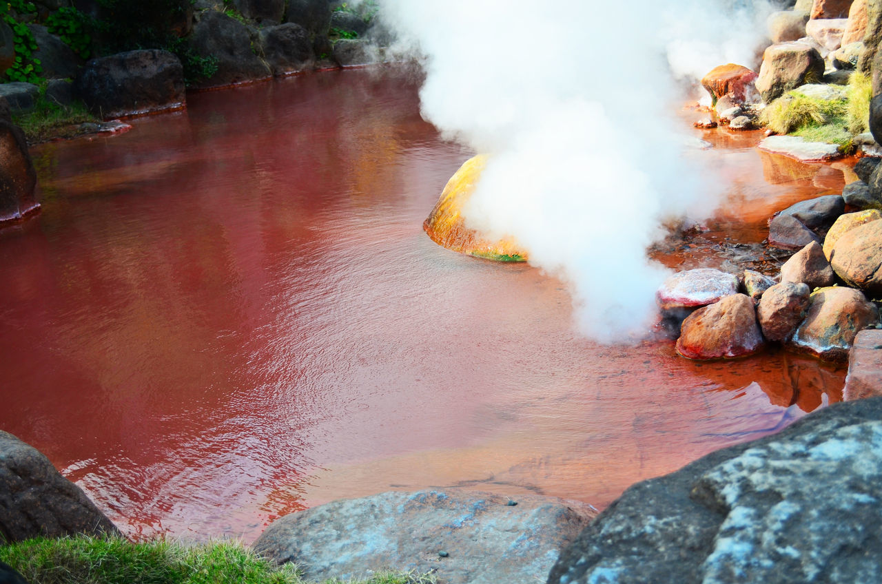 Chinoike Jigoku or blood pond hell Beauty In Nature Beppu Blood Pond Hell Chinoike Jigoku Geography Hot Spring Japan KYUSHU Landmarks Onsen Photography Red Spa