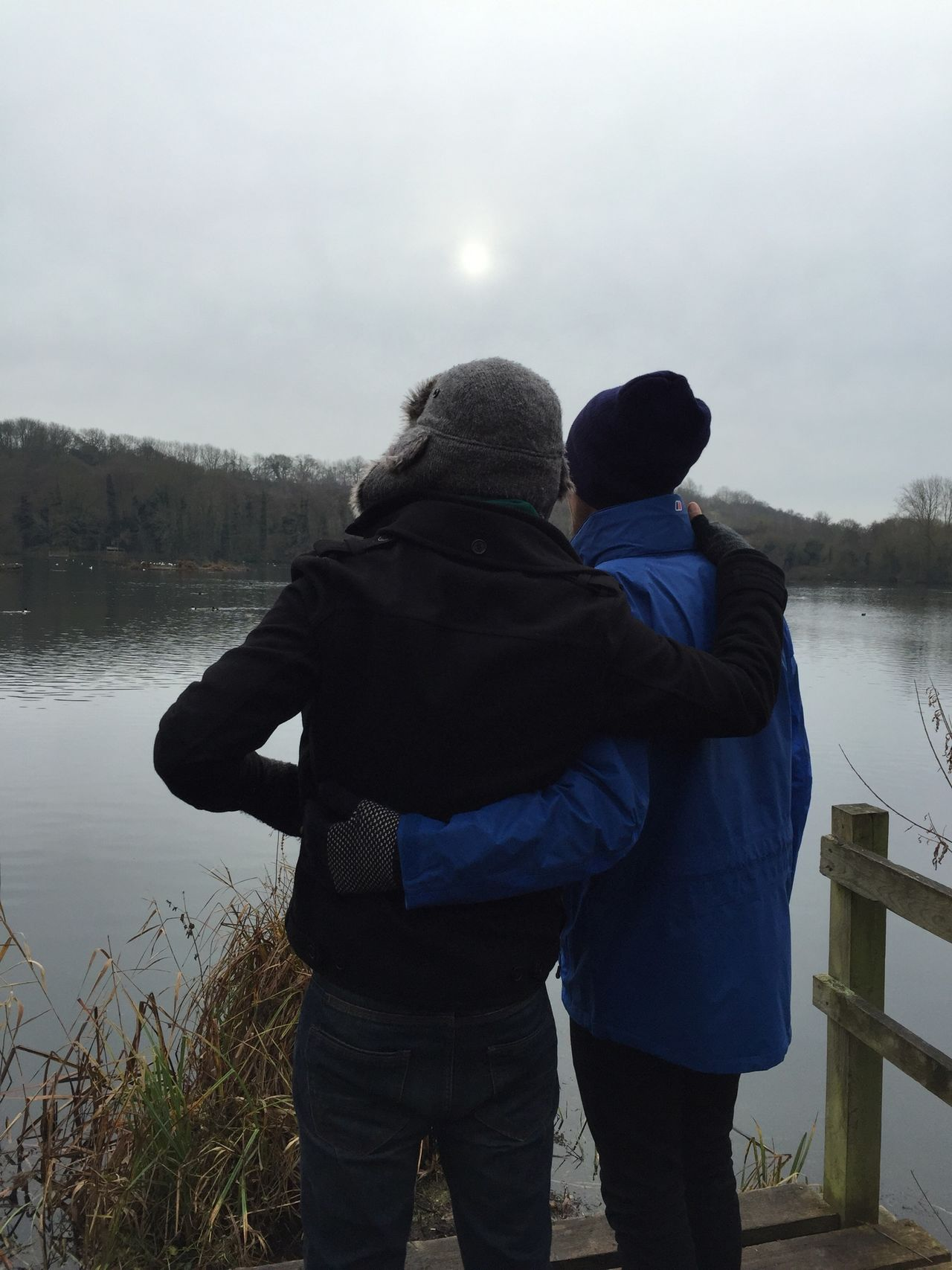 Bromance Friends Guy Friends Mates Buddies Male Bonding Winter Walk Lake Countryside English Countryside Lake View Winter Guy Mates Two Men Misty Misty Sky Haze Winter Jackets Men At One With Nature Friendship