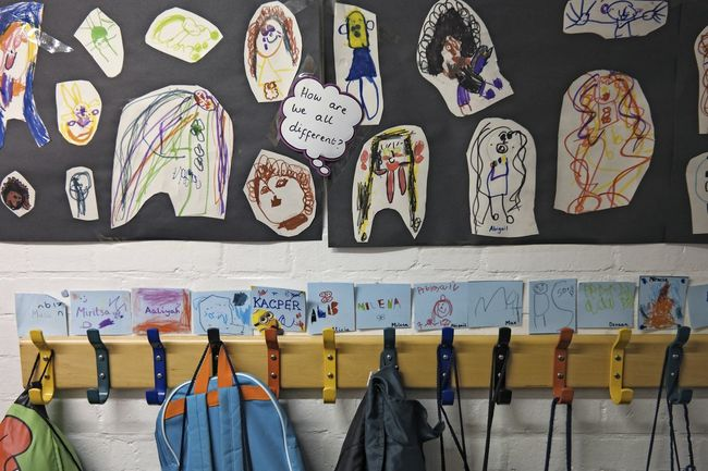 How are we all different? Back To School Backpack Bag Cartoon Child Child Art Classroom Clothes Rail Doodle Drawing Drawstring Group Of Objects Hanging Hooks In A Row Indoors  Multi Colored Primary School Rack Rain Side By Side String Variation The Color Of School