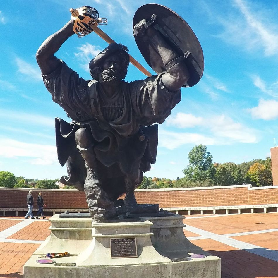 Love the fighting scot statue on the campus of edinboro university of Pennsylvania... Sculpture Human Representation Architecture Cloud - Sky Built Structure Focus On Foreground Sawonmyadventure No Filter, No Edit, Just Photography Homecoming Game Alumni College Life Homecoming!