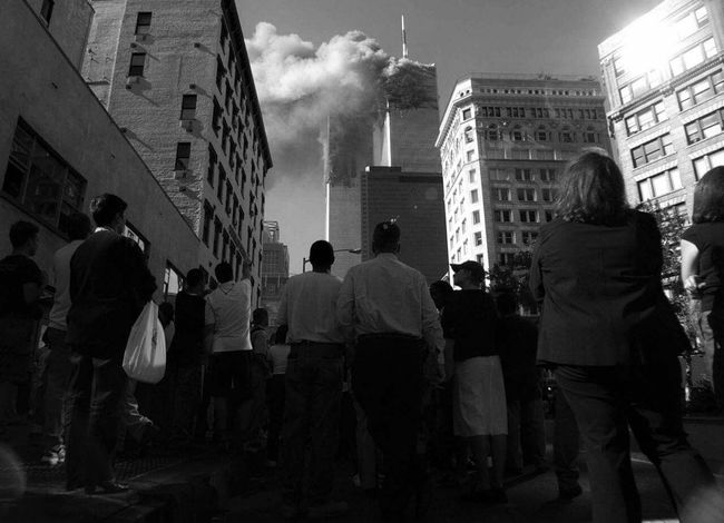 """""""The day the World stood still: September 11, 2001"""" the photo is from Yahoo news. Large Group Of People September11 Standing Shock Building Skyscraper"""