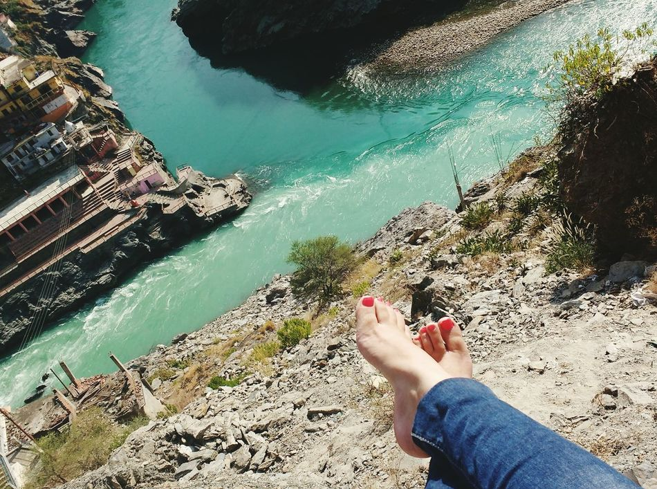 Barefoot Human Foot Personal Perspective Water Low Section Relaxation High Angle View Vacations Nail Polish Feet Fetish Feetselfie Outdoors Feetlove Uttarakhand Devprayag Tributaries Theganges Solotrip Uniqueness EyeEmNewHere The City Light
