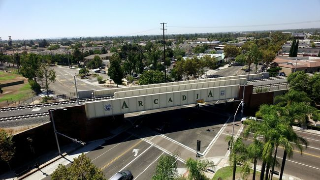 Arcadia Built Structure City Transportation High Angle View Travel Destinations Calikid California California Dreaming Enjoying Life Hello World City Life Architecture Building Exterior Travel Cityscape City Life Connection Tree Railroad Track Horizon Day Famous Place SanGabrielValley Route66