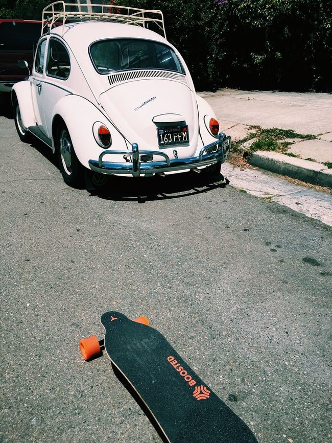 Transportation modes, 50+ years apart. Boostedboards Electric Skateboard Vw Bug Volkswagen Beetle