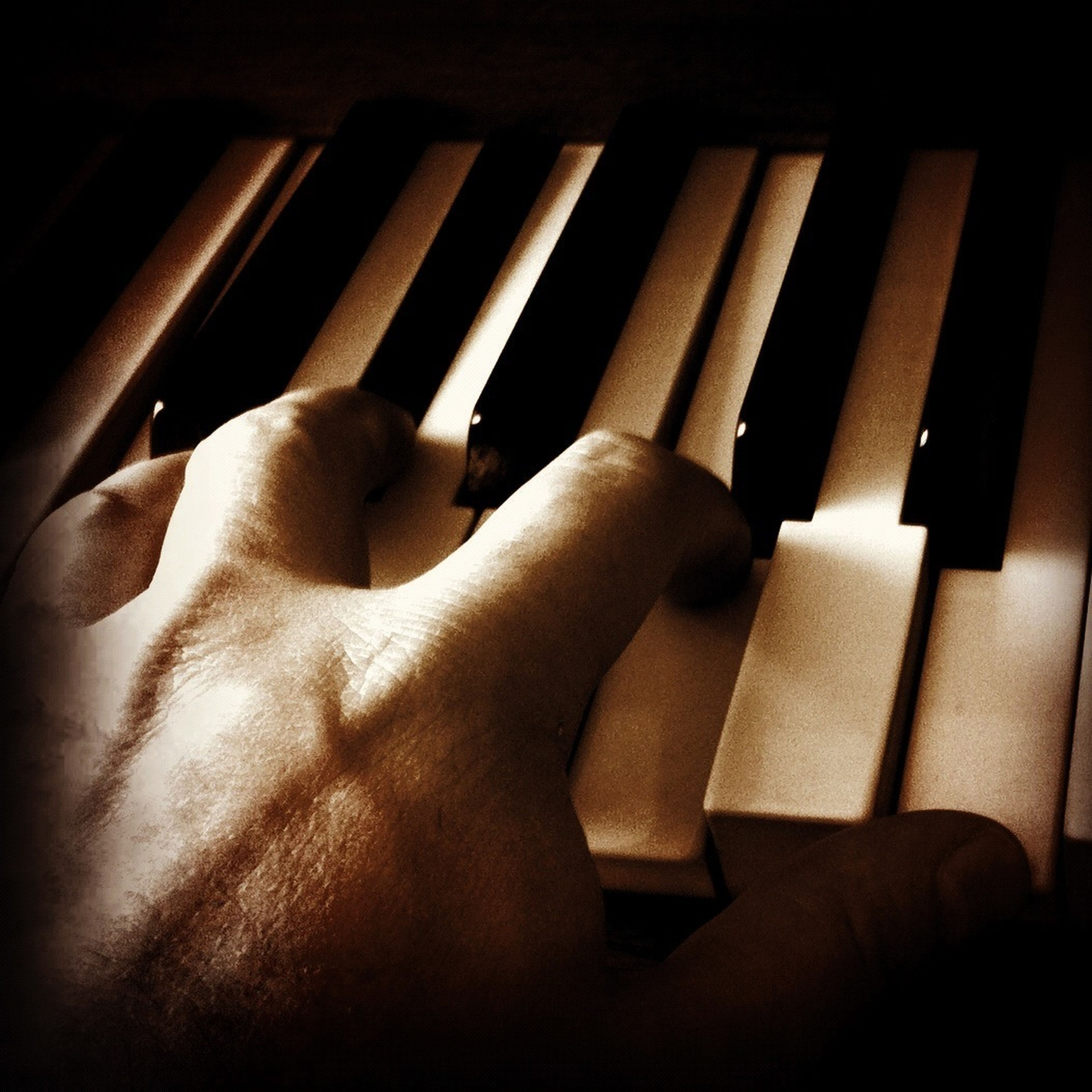 indoors, person, part of, cropped, human finger, close-up, unrecognizable person, lifestyles, relaxation, home interior, leisure activity, piano, men, music, dark, piano key