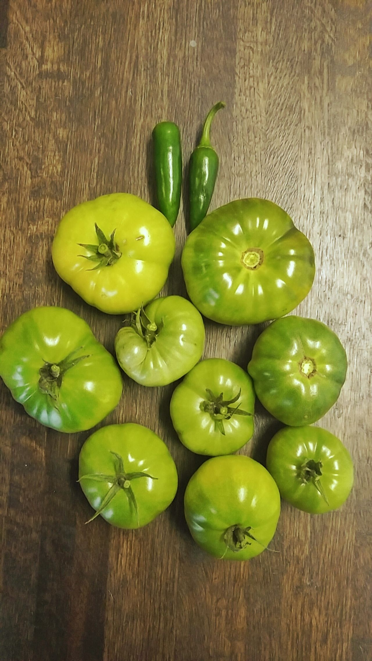 Freshness Food And Drink No People Green Color Fruit Healthy Eating Food Indoors  Close-up Day Tomato Tomatoes Green Tomatoes Green Tomato Green Garden Farm Butcherblock Kitchen Kitchen Counter Farm Fresh Garden Fresh Green Food Peppers Green Peppers