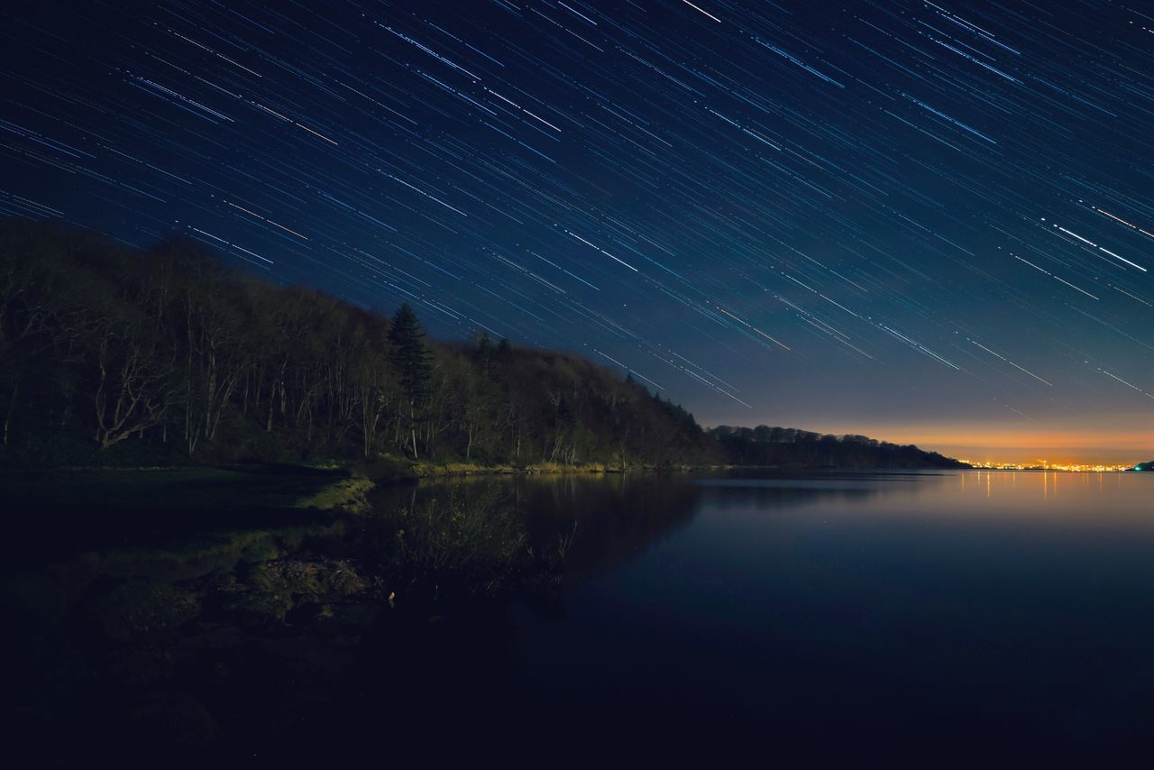 Night Star - Space Nature Beauty In Nature Astronomy Space Lake Long Exposure Reflection Scenics Sky Landscape Dark Star Field Tranquil Scene Star Trail Water Constellation Outdoors Tree