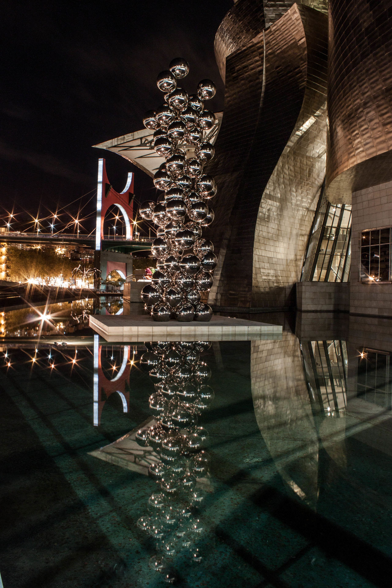 Architecture Building Exterior Built Structure Guggenheim Guggenheim Bilbao Illuminated Night No People Outdoors Reflection Water Euskaditurismo Euskadibasquecountry Euskadigrafias Bizkaia Bizkaiaturismo Bilbaoarchitecture Bilbaocentro Bilbao City Modern Reflection Photography Reflection In The Water Reflects Bubbles