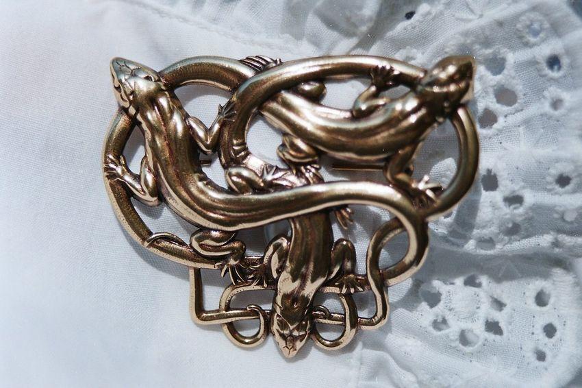 Brooch Pin Brosche Close-up Gold Colored Lieblingsteil Lzards Metal Orange