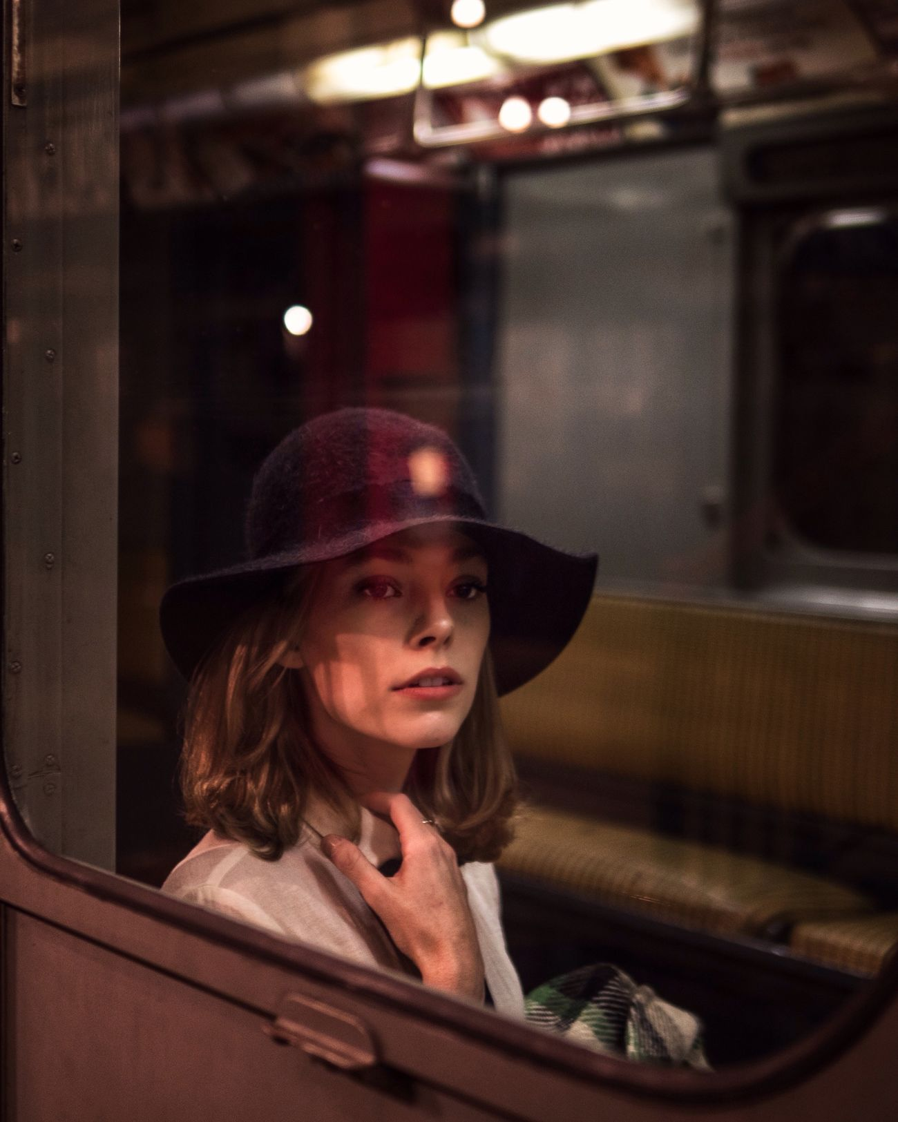 Reflection Indoors  Young Adult Adult Streetphotography Subway Train Vintage EyeEm Best Shots Women Who Inspire You Cinematic Portrait Young Women Subway Hat