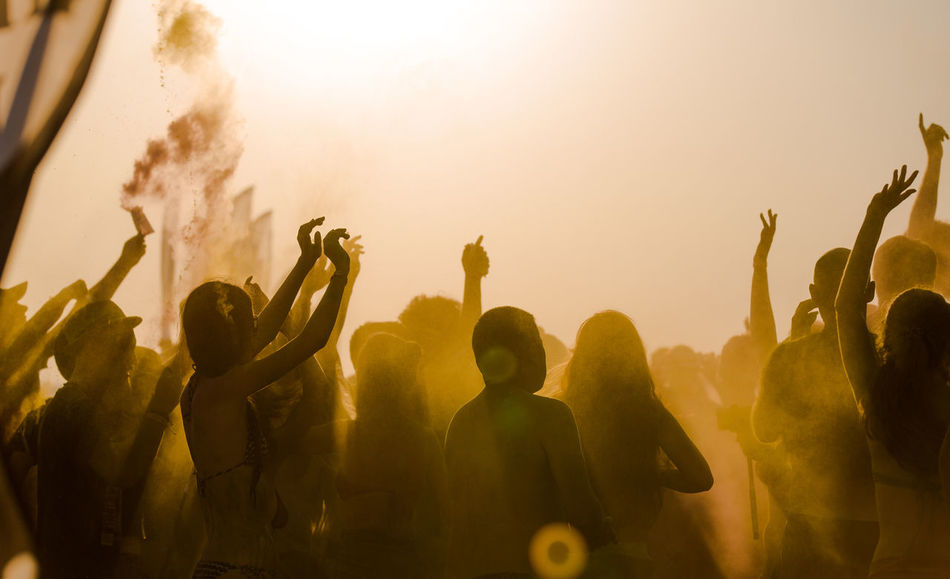 Beautiful stock photos of party, Arms Raised, Beach, Beach Party, Celebration
