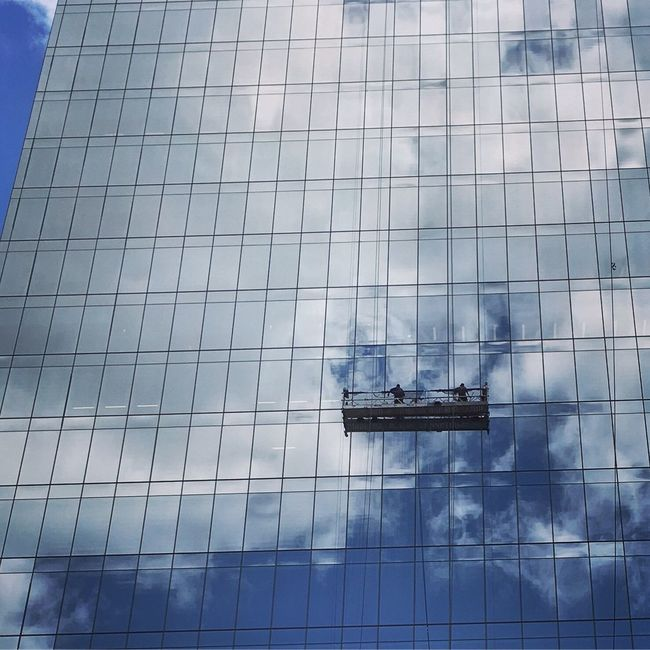 People at work Showcase July Streetphotography Building Reflection Skyporn Clouds IPhoneography No Edit/no Filter At Work Glass Blue