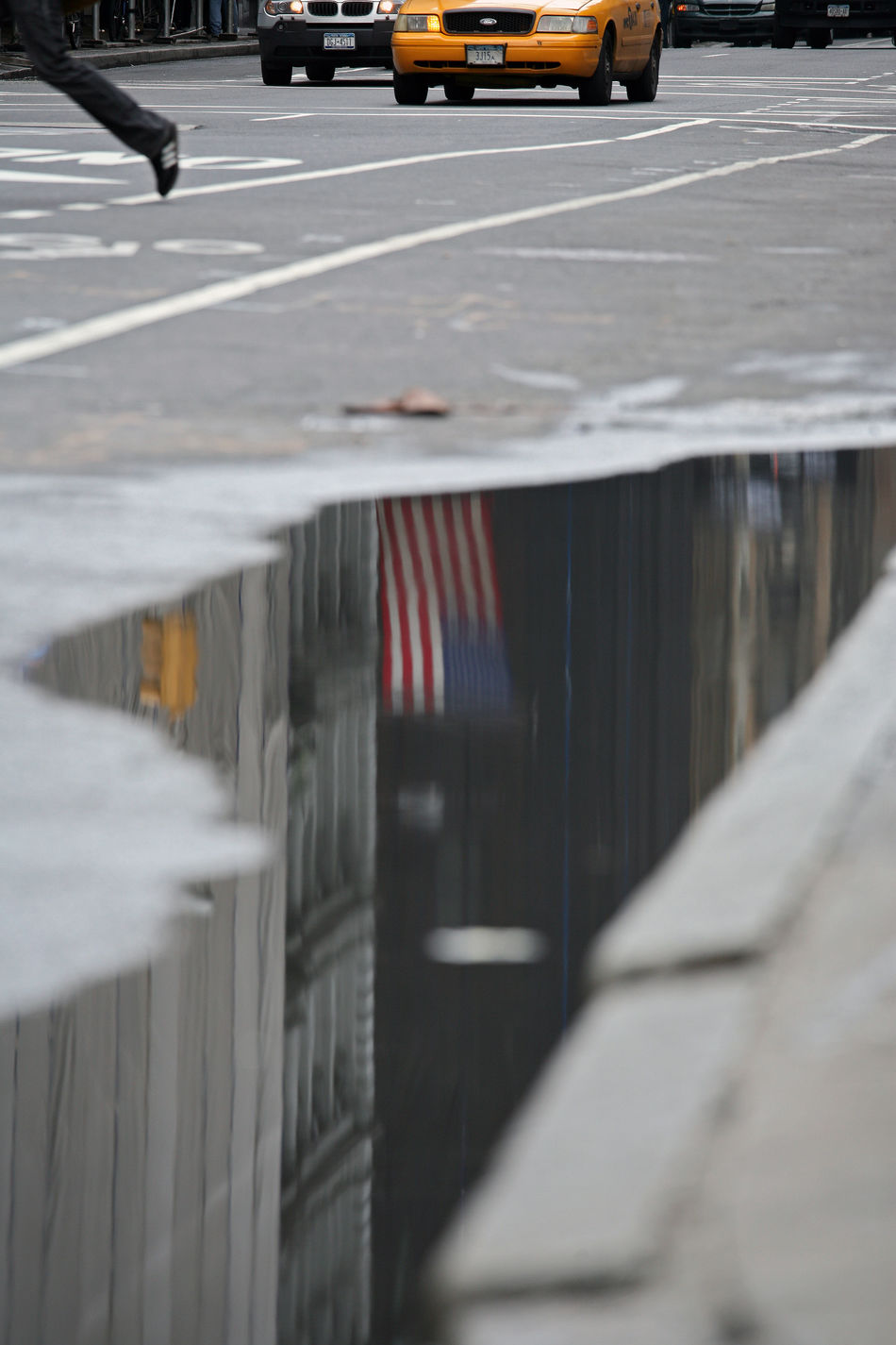 UPhold the flag American Flag City City Life City Street Day Diminishing Perspective Empty Focus On Foreground No People Nyc Street Life NYC Street Sce Outdoors American Dream Road Selective Focus Stationary Surface Level The Way Forward Vanishing Point Water Downfall.of The USA Reflection Reflections Reflection_collection Reflections In The Water