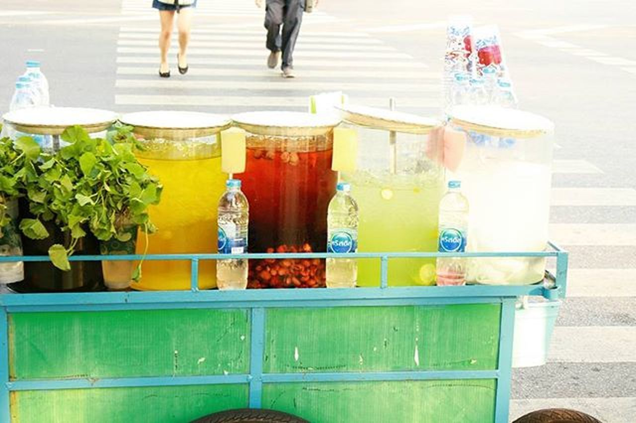 Thai Juice. Wichudamgallery Green Yellow White Red Nature Vegetables Traffic Sanamluang Bangkok Thailand Thaitown People Fresh Healthy Test Poor  Walk Road Watprakaew Behind ASIA Asian