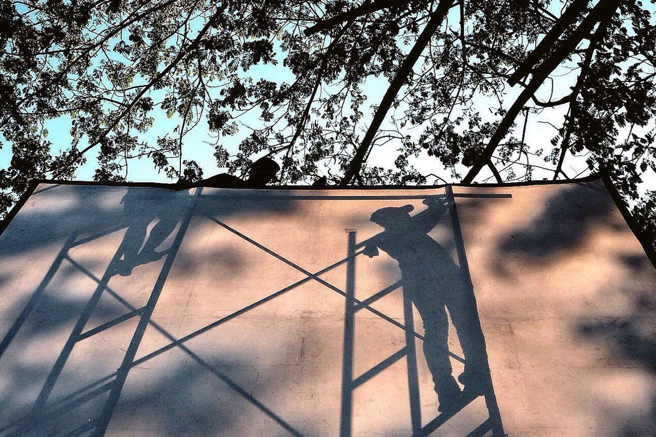 Shadow Of People On Billboard Under Tree