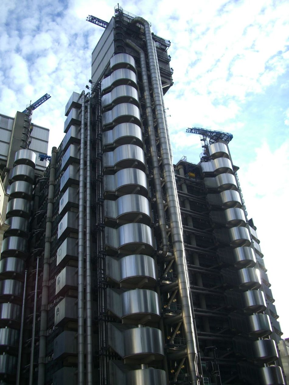 Lloyds Building Architecture Blue Sky White Clouds Building Exterior Building Facade Built Structure Capital City Composition Financial District  Financial District  Full Frame GB Lloyds Building London Low Angle View Modern Modern Architecture Modern Building No People Office Block Office Building Outdoor Photography Stainless Steel  Tall Tall - High Uk