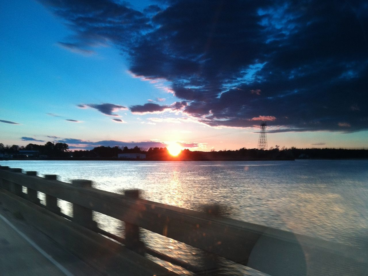 Beauty In Nature Charleston SC Cloud Cloud - Sky Distant Dramatic Sky From The Window Of A Car Light Majestic Outdoors Scenics Sea Silhouette South Carolina Sun Sunset Sunset_collection Tranquil Scene Tranquility United States Water