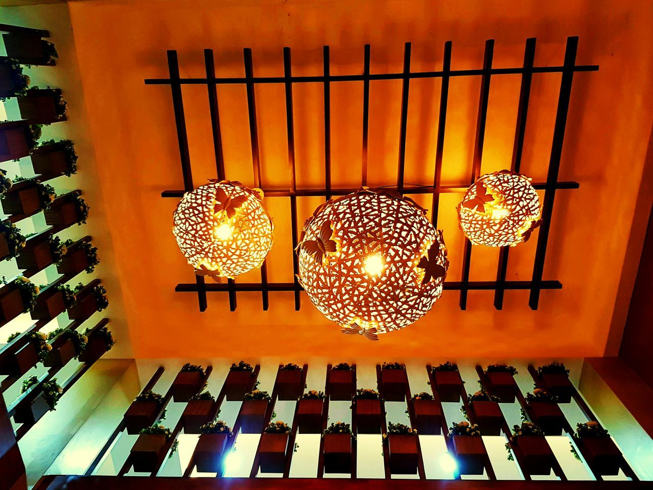 Indoors  Pattern Illuminated Lighting Equipment No People Yellow Hanging Patterns Hanginglights Pots