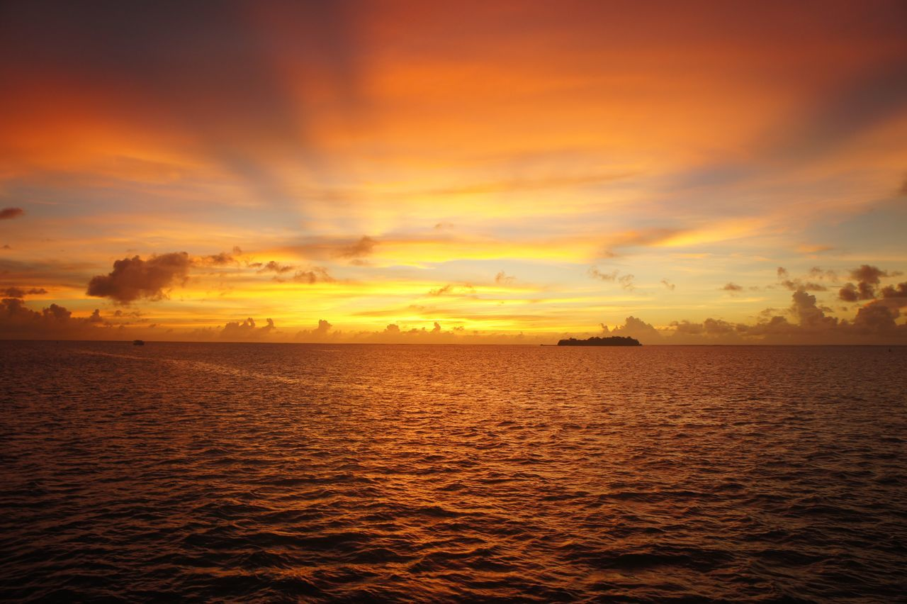 Guam sunset in color, no filter Beauty In Nature Calm Cloud Cloud - Sky Dramatic Sky Epic Sunset Guam Guamsunset Horizon Over Water Idyllic Nature Orange Color Outdoors Rippled Scenics Sea Seascape Sky Sky And Clouds Sky_collection Sunset Tranquil Scene Tranquility Water Waterfront