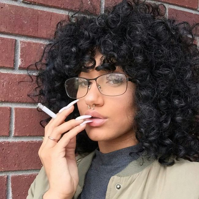 Selfie✌ Gorgeous Aesthetics Fashion Curly Hair Curly Natural Hair Streetstyle Urbanstyle Urban Fashion Street Fashion Model Selfie ✌ Bomber Jacket Bomberjacket Nails Long Nails Septum Peircing