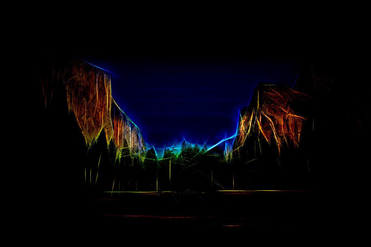 Abstract Art Illuminated Mountains Night No People Outdoors Sky Topaz Glow