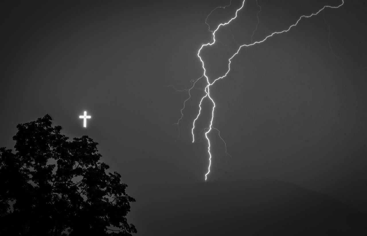 The two crosses Black And White Bolt City Cross Dramatic Sky Hill Landscape Lightning Lightning Storm Macedonia Nature Nature Outdoors Power In Nature Rain Skopje Sky Skyscape Storm Storm Summer Thunder Thunderstorm Tree Weather
