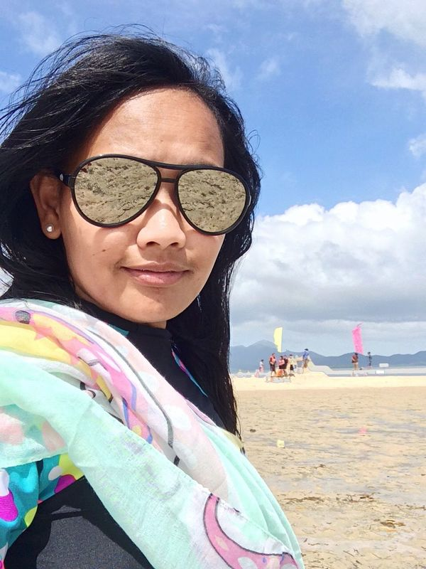 The Foreground Beach Leisure Activity Looking At Camera Vacations Outdoors Portrait Eyeglasses  Young Adult Adventure Selfie ✌ Eyeem Philippines EyeEm Best Shots Traveling Home For The Holidays Vacations Travel EyeEmNewHere