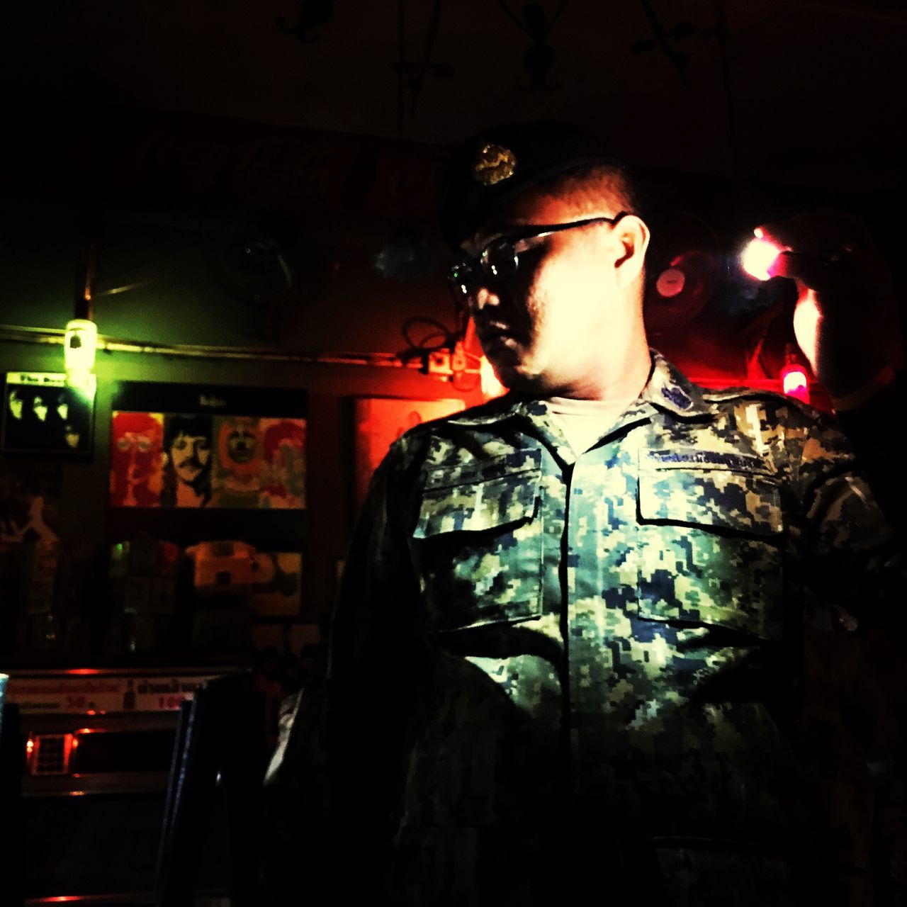 Thailand Army Night Raid Bar Torchlight Dark One Person Real People Inspection