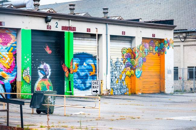 Richmond, VA USA Street Art Art Building Exterior Creativity Garage Doors Graffiti Industry Richmond, VA Street Art Street Art/Graffiti Street Artist Urban Art VCU VCU Artists