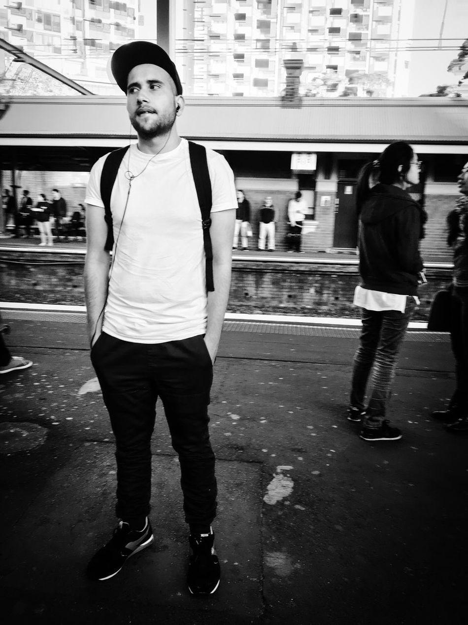 Blackandwhite Photography Street Photography Train Station Platform Cool Guy