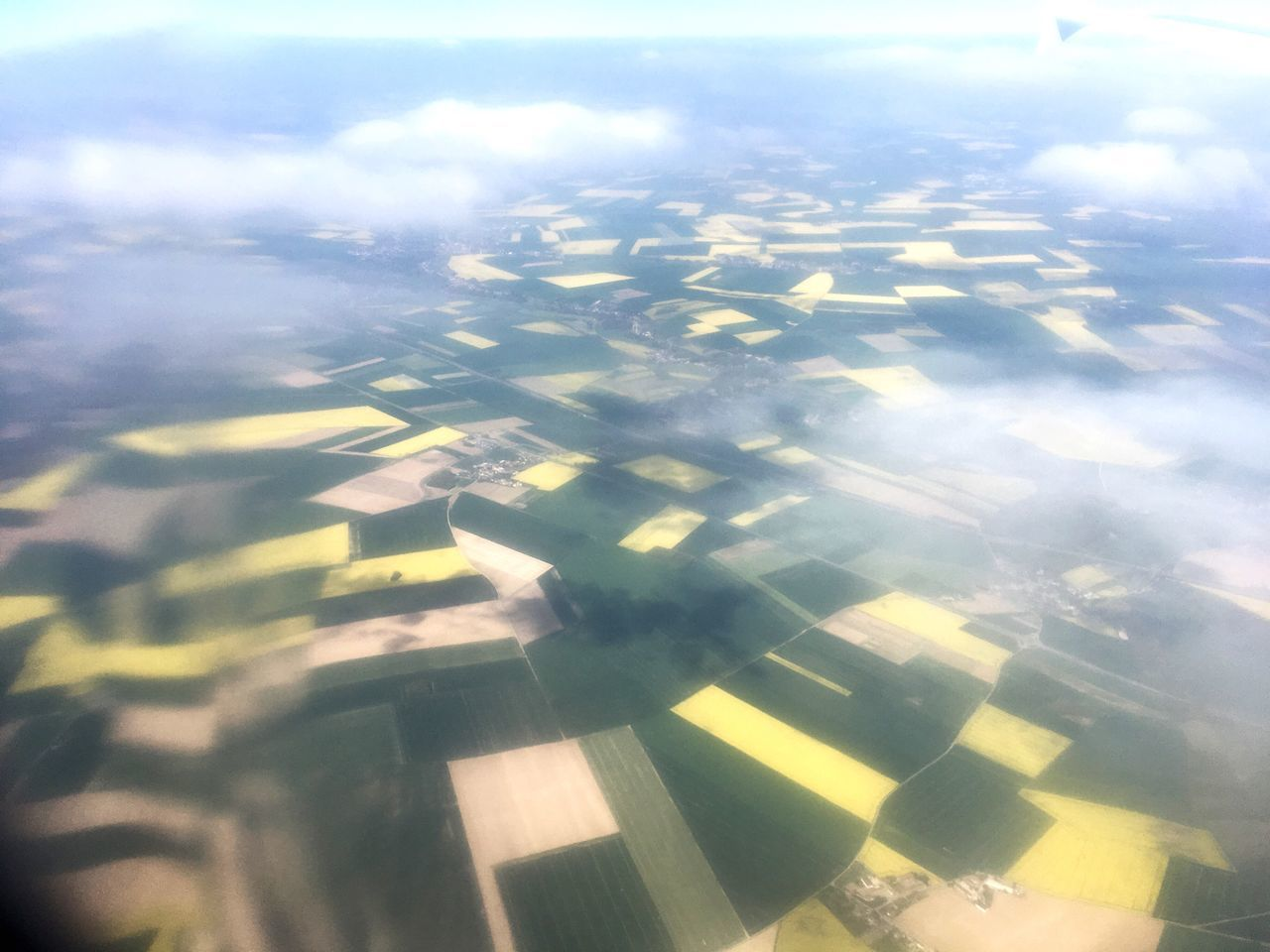 Aerial View Beauty In Nature Nature Scenics Tranquility Agriculture Outdoors Landscape Tranquil Scene Patchwork Landscape No People Day Field Rural Scene Yellow Sky Airplane Wing Mostard Fields