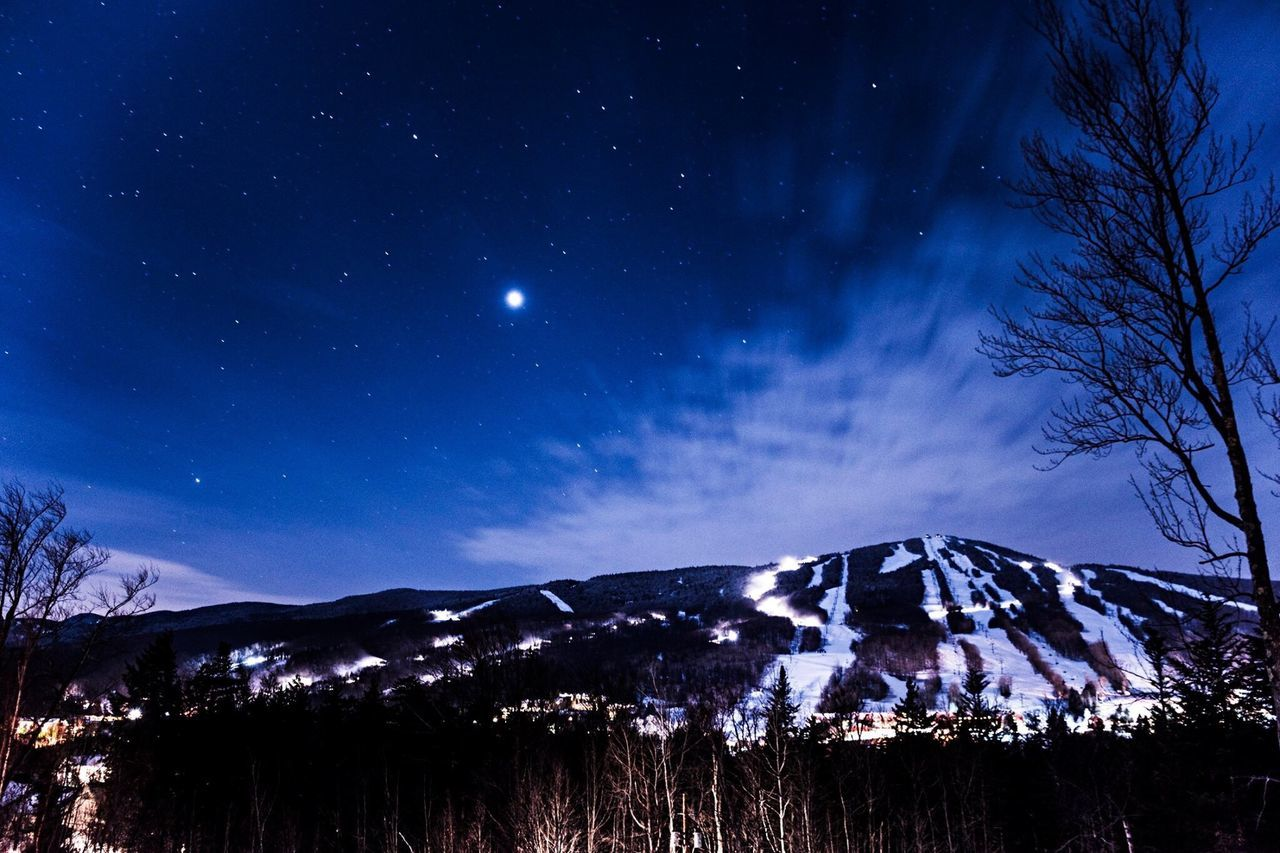 Night Mountain Snow Star - Space Scenics Sky Blue Mountain Range Snowcapped Mountain Nature Nightphotography Long Exposure Winter Winter Landscape Astronomy Beauty In Nature Cold Temperature Outdoors Travel Destinations Tree Galaxy No People