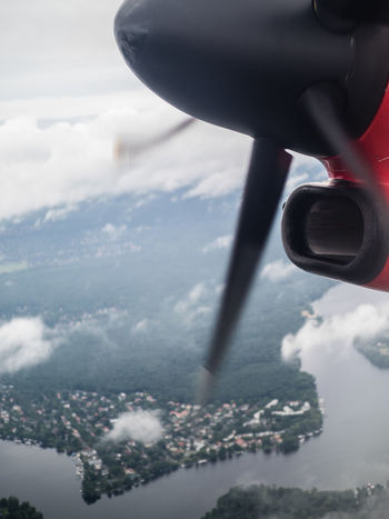 Traveling Aerial View Air Vehicle Aircraft Wing Airplane Airplane Wing Cloud - Sky Departure Experience Flight Flying Journey Mode Of Transport Propeller Propeller Airplane River Scenics Take-off The Feeling Of Travel To New Shores Transportation Travel Vehicle Part Water Woods