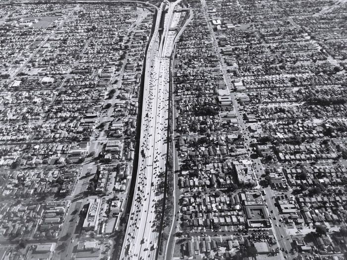 Los Angeles, California California Interstate Interstate 110 Street Highway Urban Aerial Shot Traffic City Vermont Vista Blackandwhite