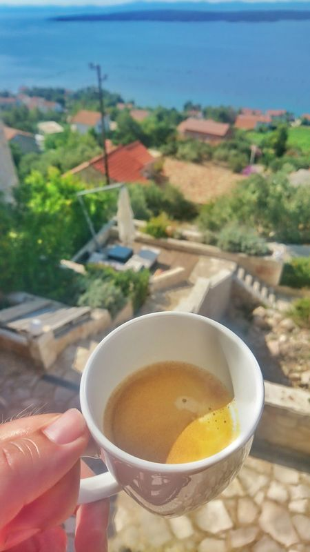 Food And Drink Drink Coffee Cup Refreshment Holding Coffee - Drink Cropped Freshness Part Of Close-up Coffee Focus On ForegroundEnjoying Life Cup Rural Scene Personal Perspective Beverage Outdoors Morning View Ocean View Vacation Blue Water Ocean View Sea View Sunnysunday Hvar Croatia Hvar Island