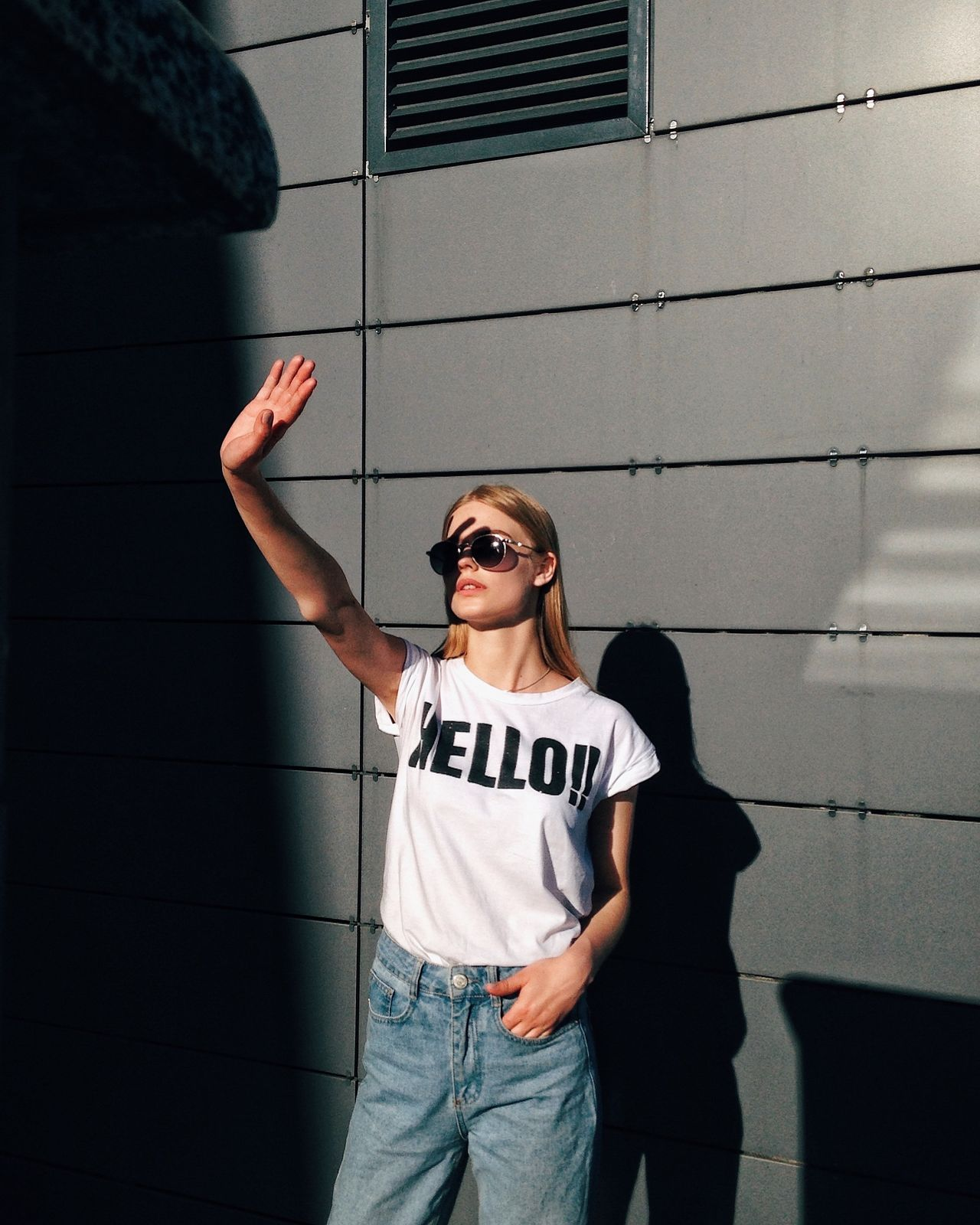 Say hello Sunglasses Cool One Person Standing Real People Outdoors Architecture Young Adult People Hello Outfit #OOTD Portrait Shadows & Lights Girl