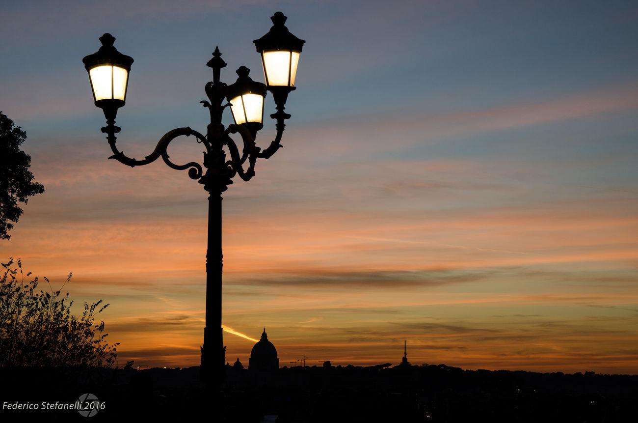 tramonto visto dalla terrazza del Pincio - Street Light Sunset Silhouette Landscape Illuminated Night Tramonto Sky Light And Shadow Roma Rome Panorama Skyline