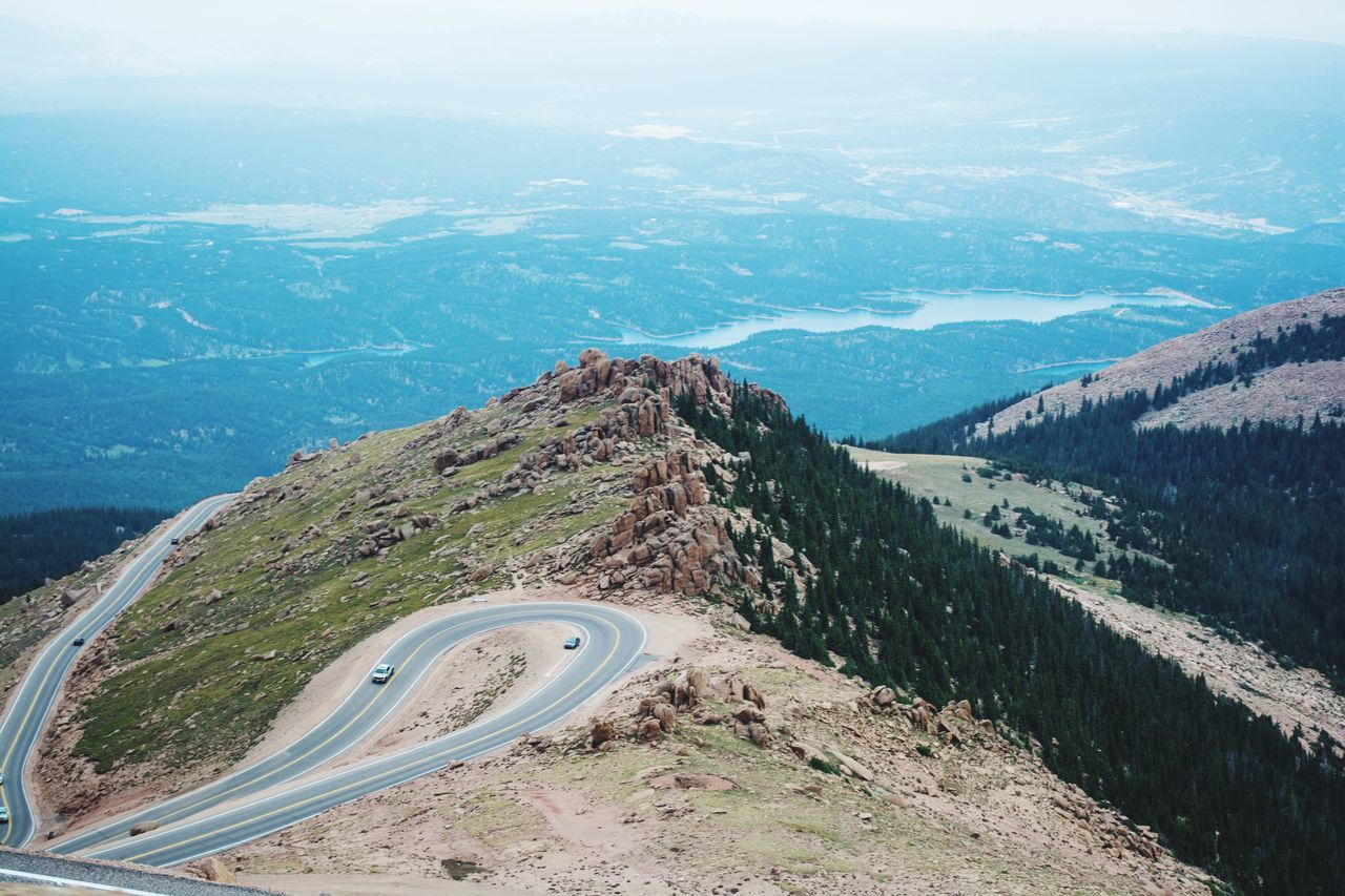 High road Hiking Mountains Outdoors Adventure Colorado Springs Explore Nature Mountainscape Top Of The Mountains High Up Misty Mountains  Foggy Mountains Pikes Mist Fog Pikes Peak Clouds Colorado Road Sky Freshair