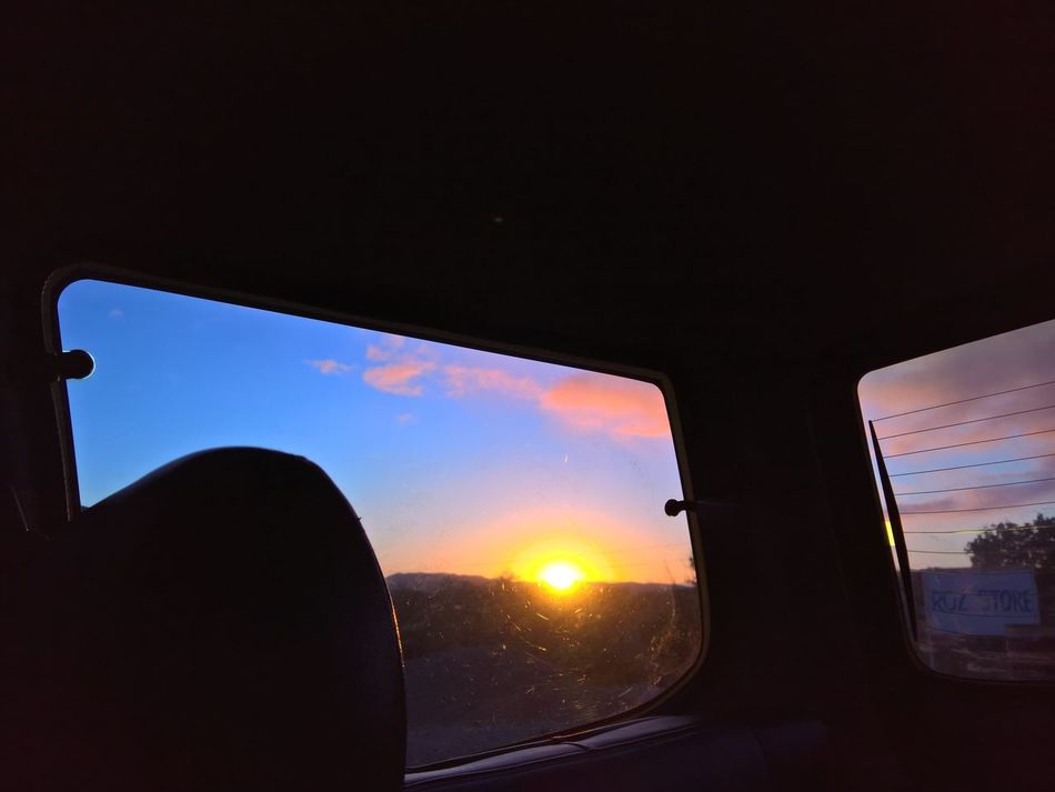Sunset as seen inside the car Beauty In Nature Car Close-up Cloud - Sky Day Mode Of Transport Nature No People Outdoors Sky Sunset Transportation Vehicle Interior