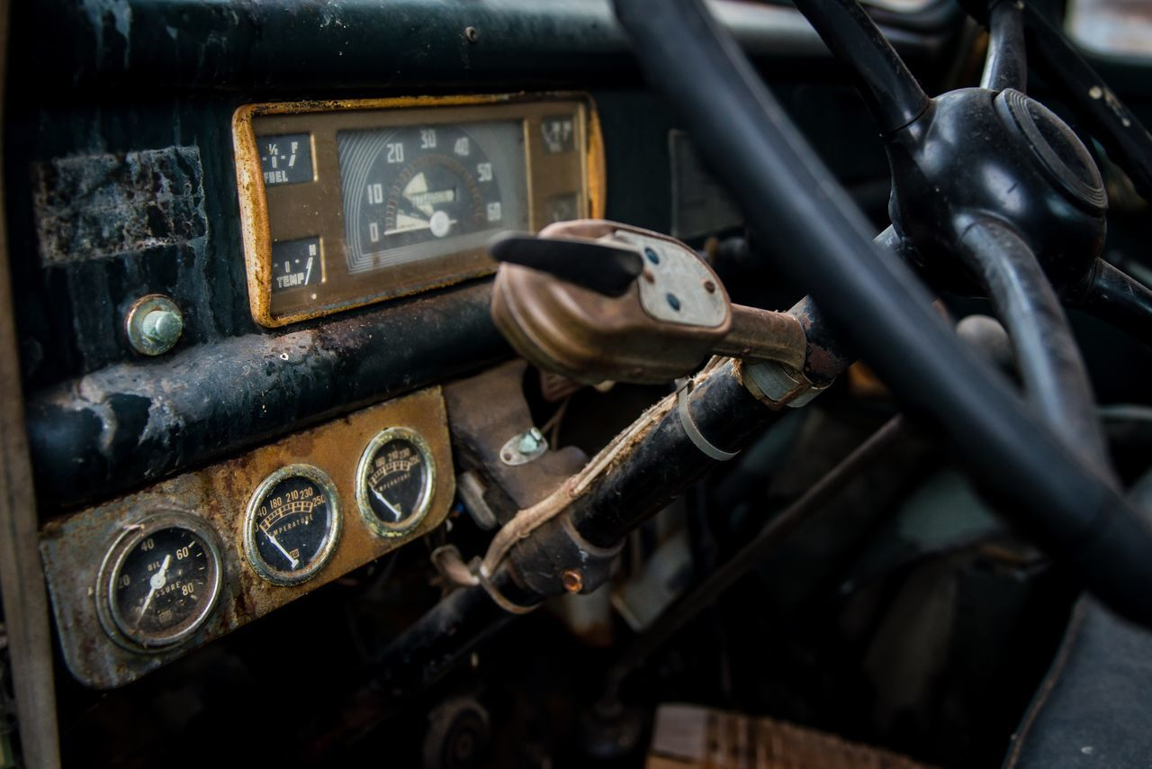 old-fashioned, retro styled, abandoned, no people, day, close-up, gauge, indoors