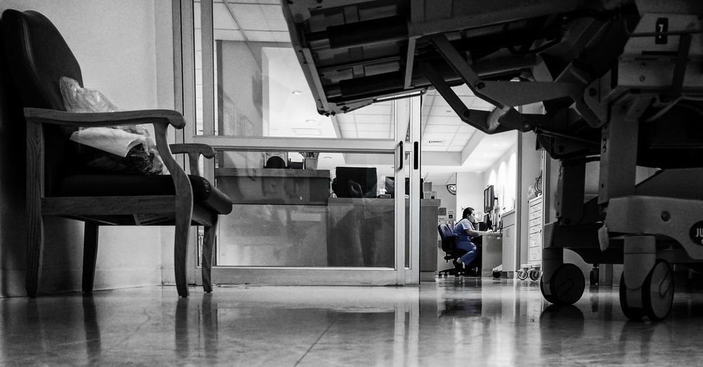 Indoors  Real People Adults Only Blackandwhite Selective Color Hospital Nexus6P Black And White Black & White Life Sickness s