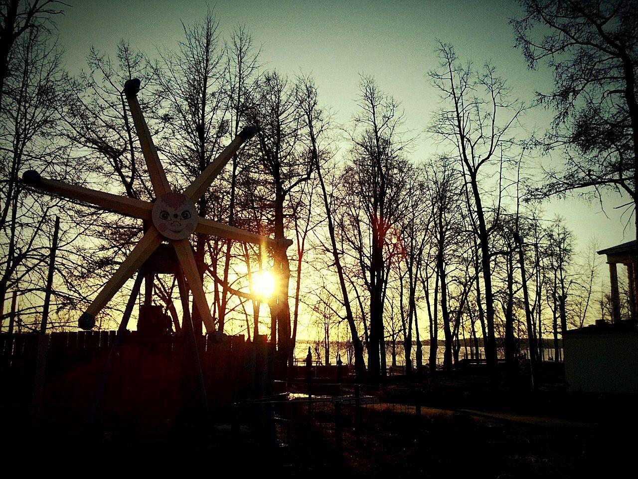 sunset, silhouette, sun, cross, sky, no people, tree, wind power, wind turbine, windmill, outdoors, nature, day