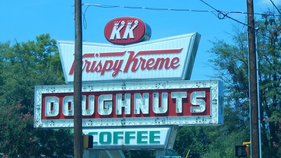 Spotted a vintage Krispy Kreme sign in Raleigh, NC! Text Tree No People Low Angle View Day Close-up Sky Sign KrispyKreme Vintage Signs Vintage