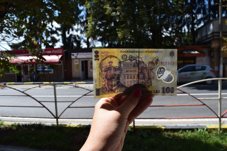 Architecture Bird Building Exterior Built Structure Close-up Day Deeds Focus On Foreground Holding Human Body Part Human Hand Money One Person Outdoors Personal Perspective Real People Romania Romanian  Street Streetphotography Text Tree