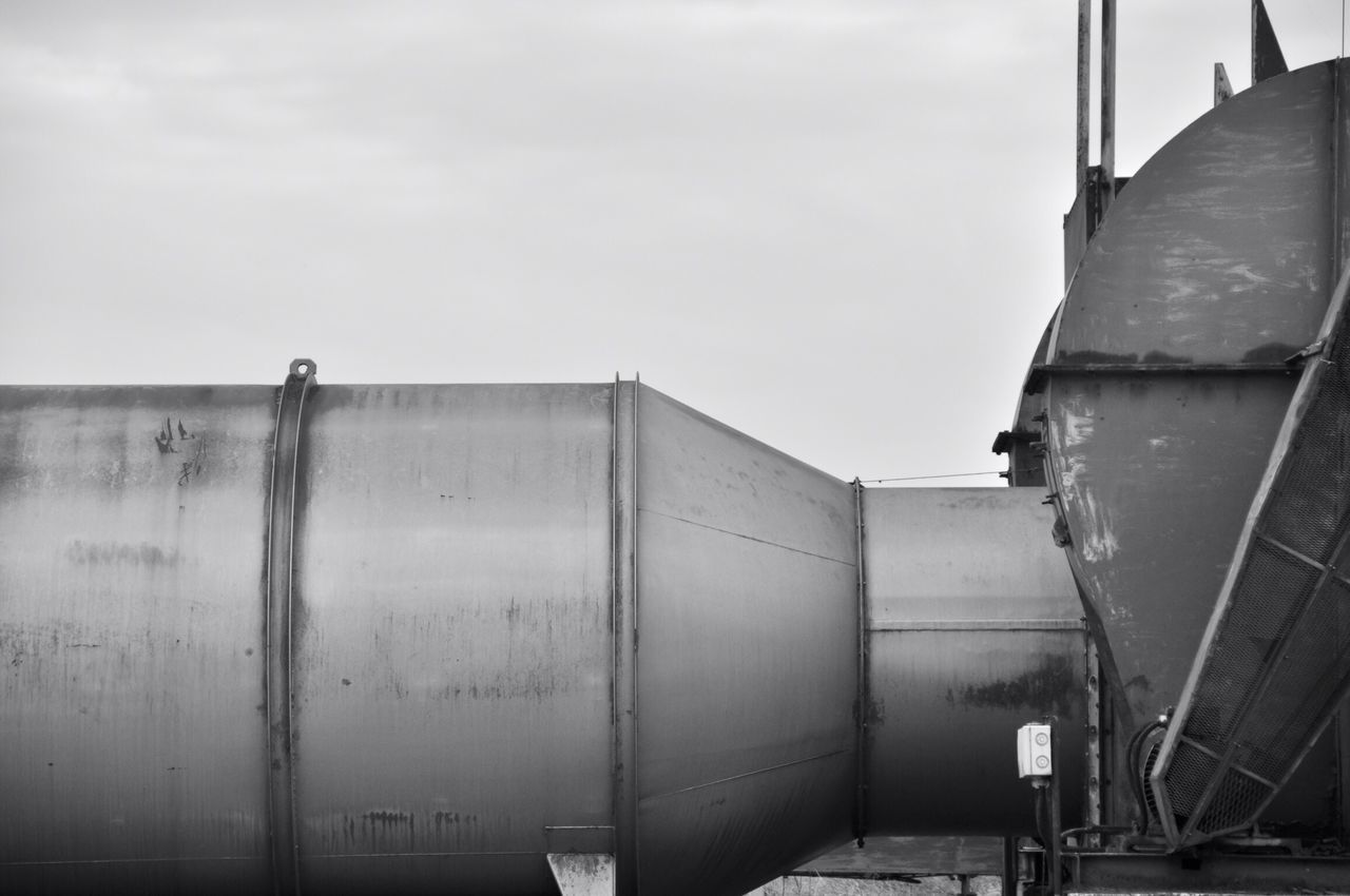 storage tank, sky, industry, storage, transportation, outdoors, mode of transport, no people, day, abandoned, clear sky, factory, nautical vessel, nature, shipyard
