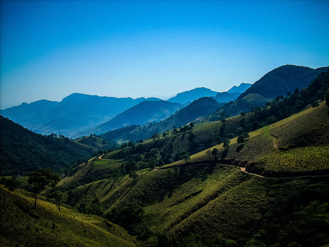 mountain, landscape, agriculture, nature, mountain range, beauty in nature, no people, outdoors, clear sky, tea crop, day, sky