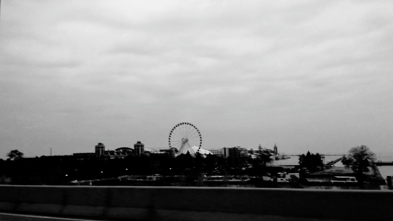 Simplicity Ferris Wheel Outdoors No People Sky Drivebyphotography Drive By Shooting Drive&shot Black & White Blackandwhite Bnw_collection Bnw Blancoynegro Blanco Y Negro