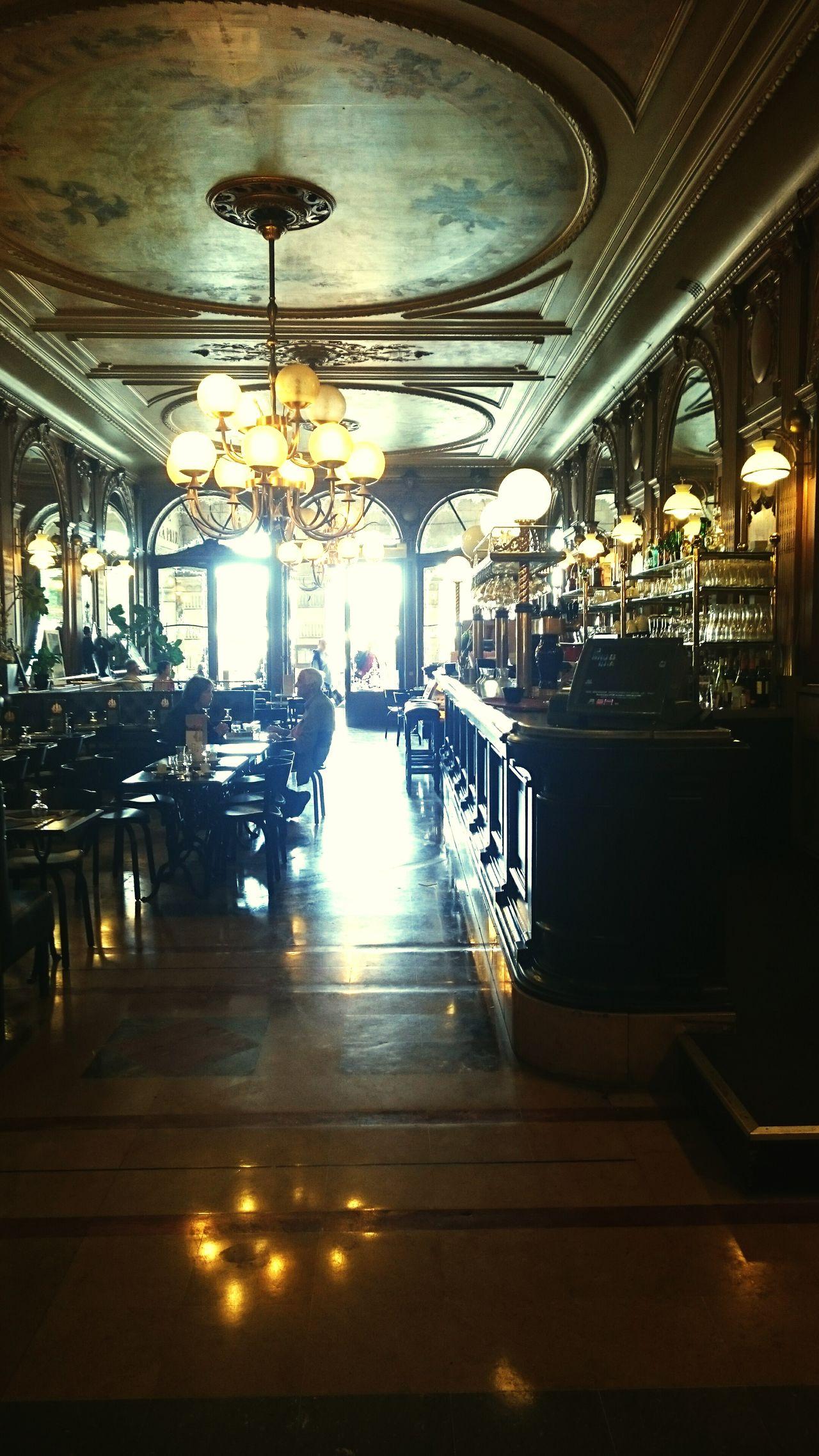 Cafe Bar café de la paix La Rochelle Rococo Glittering Lights Indoor Old Fashion