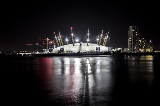 O2 Arena at Night A Architecture Dark Greenwich Illuminated Landscape Lnlphotofarmphotography London Long Exposure Millenium Bridge Night O2 O2 Arena Reflection River Sea Stadium Thames Uk Water Water Reflections Waterfront First Eyeem Photo